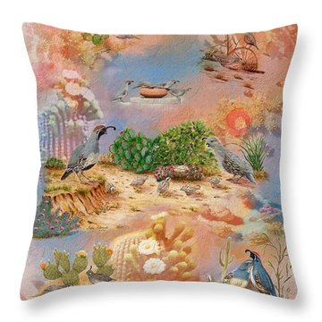 Throw Pillow featuring the painting Gambel Quail Collage-southwest Art by Judy Filarecki