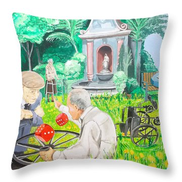 Throw Pillow featuring the painting Gambling Grandma  by Lazaro Hurtado