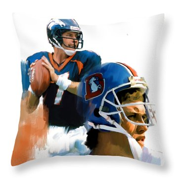 Game Elway  John Elway Throw Pillow by Iconic Images Art Gallery David Pucciarelli