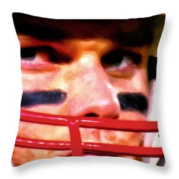 Game Face Throw Pillow by Michael Pickett