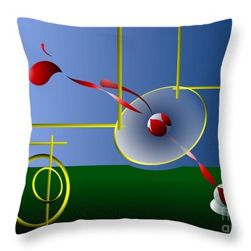 Throw Pillow featuring the digital art Games by Leo Symon