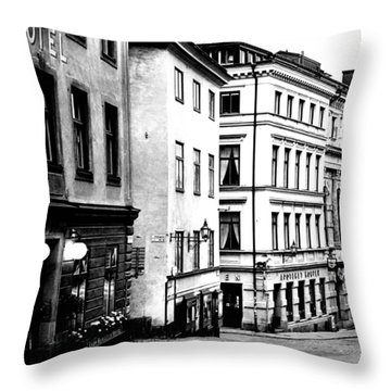 Gamla Stan Black And White Throw Pillow