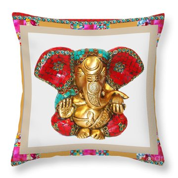 Ganapati Ganesh Idol Hinduism Religion Religious Spiritual Yoga Meditation Deco Navinjoshi  Rights M Throw Pillow by Navin Joshi