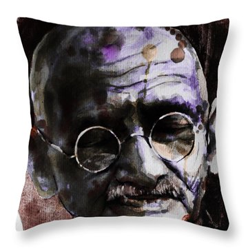Throw Pillow featuring the painting Gandhi by Laur Iduc