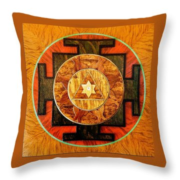 Ganesha Sacred 3d High Relief Artistically Crafted Wooden Yantra    23in X 23in Throw Pillow by Peter Clemens