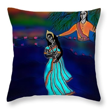 Ganga Devi And Santhanu Throw Pillow by Latha Gokuldas Panicker