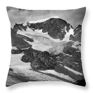 509427-bw-gannett Peak And Gooseneck Glacier, Wind Rivers Throw Pillow