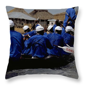 Ganvie - Lake Nokoue Throw Pillow by Travel Pics