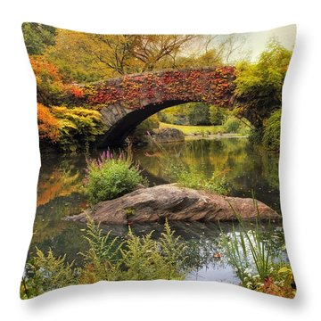 Throw Pillow featuring the photograph Gapstow Bridge Serenity by Jessica Jenney