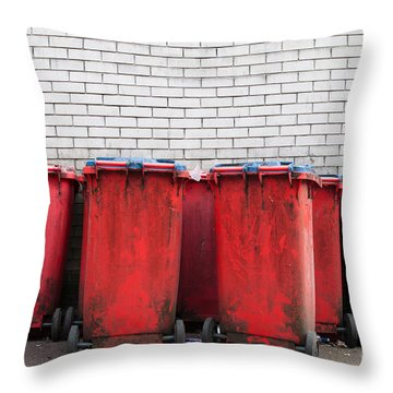 Garbage Bins Throw Pillow