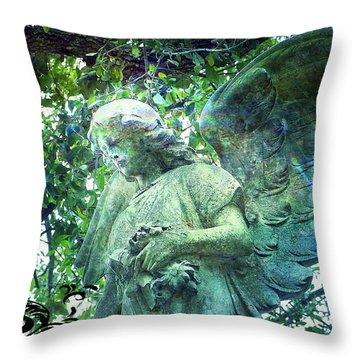 Throw Pillow featuring the digital art Garden Angel - Divine Messenger by Absinthe Art By Michelle LeAnn Scott