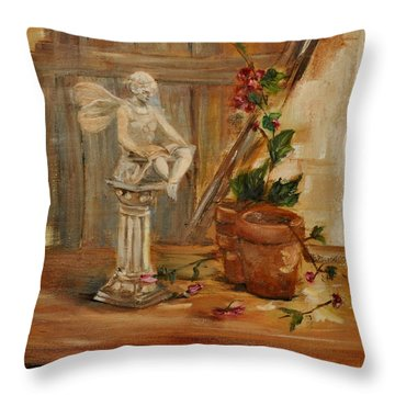 Garden Angel Two Throw Pillow by Lindsay Frost