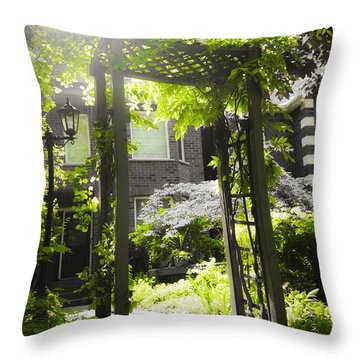 Garden Arbor In Sunlight Throw Pillow by Elena Elisseeva