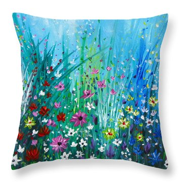 Garden At Early Morning Throw Pillow by Kume Bryant