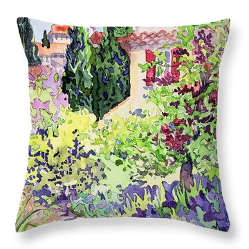 Garden At Vaison Throw Pillow by Julia Gibson