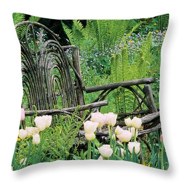 Throw Pillow featuring the photograph Garden Bench by Alan L Graham