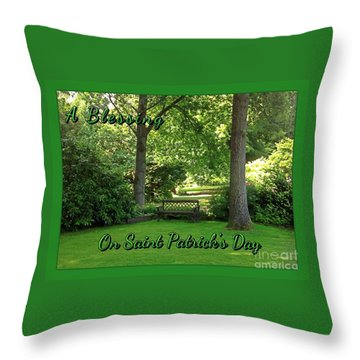 Garden Bench On Saint Patrick's Day Throw Pillow