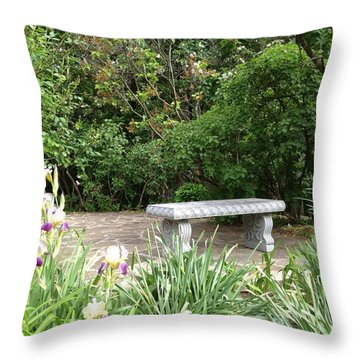 Garden Bench Throw Pillow