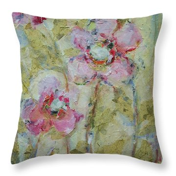 Throw Pillow featuring the painting Garden Bliss by Mary Wolf