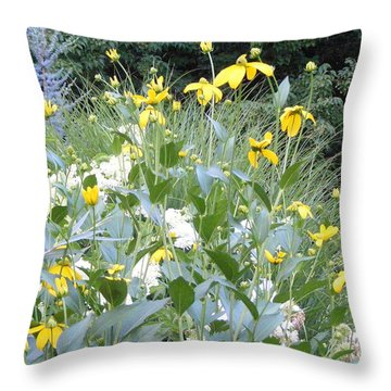 Garden Bouquet In Blue And Yellow Throw Pillow