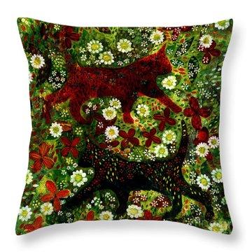 Garden Cats Throw Pillow