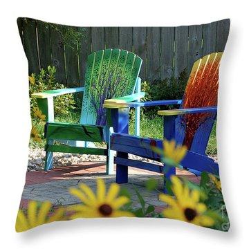Garden Chairs Throw Pillow by First Star Art