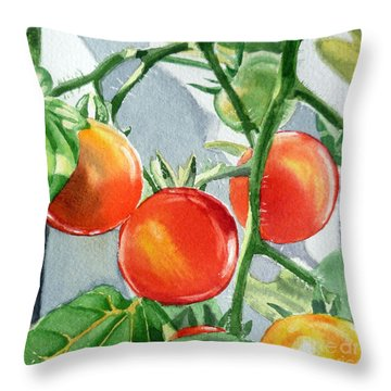 Garden Cherry Tomatoes  Throw Pillow