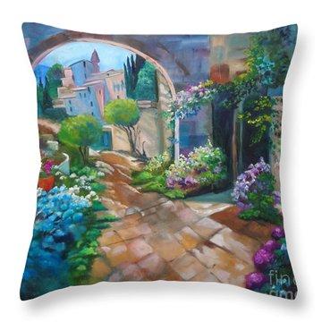 Garden Courtyard Throw Pillow
