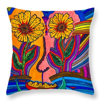 Garden Face - Lotus Pond - Daisy Eyes Throw Pillow