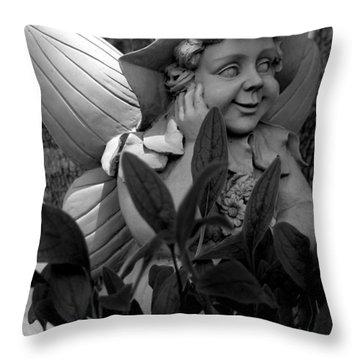 Garden Fairy Statue Throw Pillow