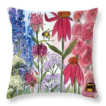 Throw Pillow featuring the painting Garden Flower And Bees by Laurie Rohner