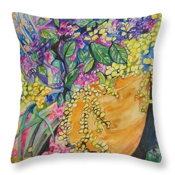Garden Flowers In A Pot Throw Pillow by Esther Newman-Cohen