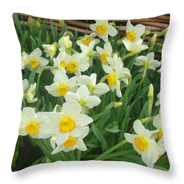 Throw Pillow featuring the photograph Garden Flowers by John Glass