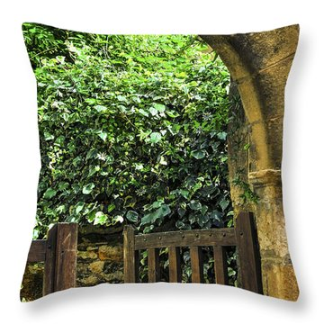 Garden Gate In Sarlat Throw Pillow by Elena Elisseeva