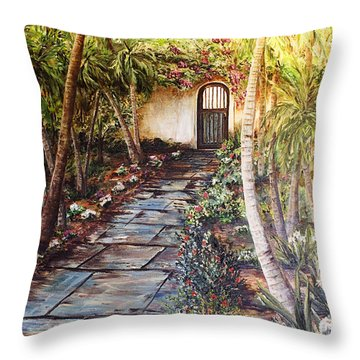 Garden Gate To Rosemary's Cottage Throw Pillow