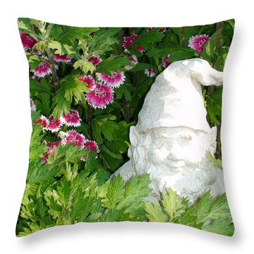 Throw Pillow featuring the photograph Garden Gnome by Charles Kraus