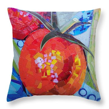 Throw Pillow featuring the mixed media Garden Harvest Collage Detail by Shawna Rowe
