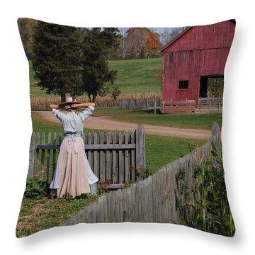 Garden Lady Throw Pillow