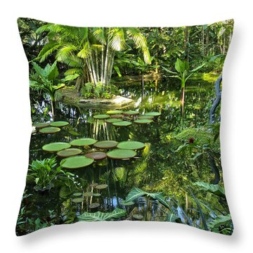 Throw Pillow featuring the photograph Garden Lily Pads by Joseph Hollingsworth