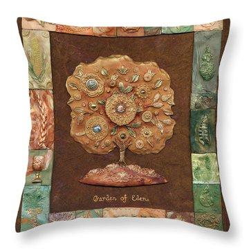 Garden Of Eden Throw Pillow by Michoel Muchnik
