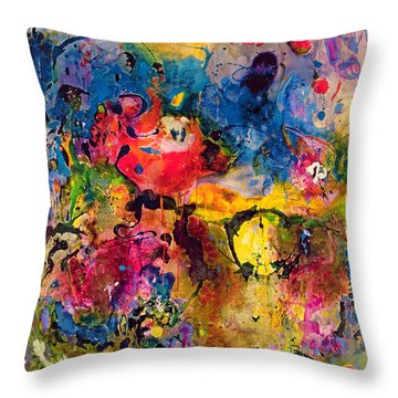Garden Of Heavenly And Earthly Delights Throw Pillow by Jane Deakin