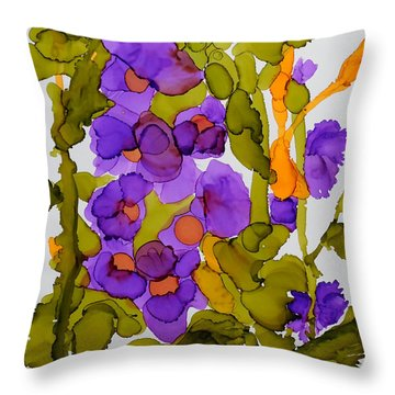 Garden Of Hollyhocks Throw Pillow by Vicki  Housel