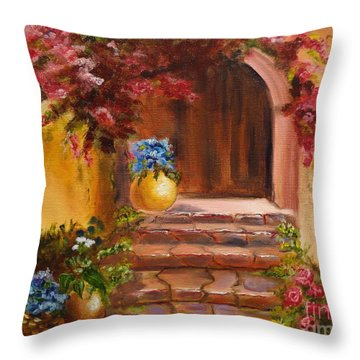 Throw Pillow featuring the painting Garden Of Serenity by Jenny Lee