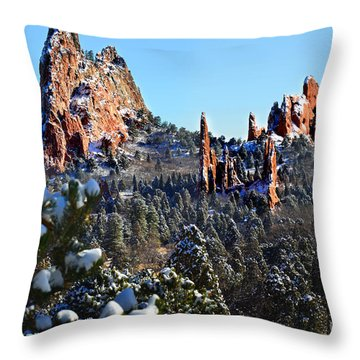 Throw Pillow featuring the photograph Garden Of The Gods After Snow Colorado Landscape by Jon Holiday