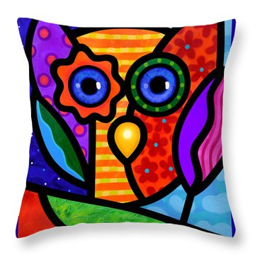 Garden Owl Throw Pillow