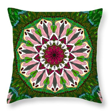 Throw Pillow featuring the digital art Garden Party #2 by Elizabeth McTaggart
