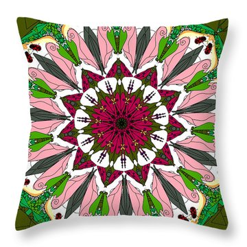 Throw Pillow featuring the digital art Garden Party by Elizabeth McTaggart