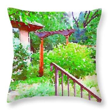 Garden Path With Arbor Throw Pillow