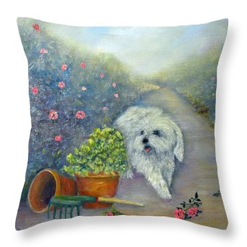 Garden Path Throw Pillow by Loretta Luglio