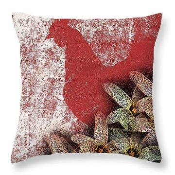 Garden Rooster Throw Pillow